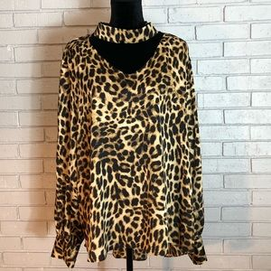 Vince Camuto Long Sleeve Exotic Animal Print Top